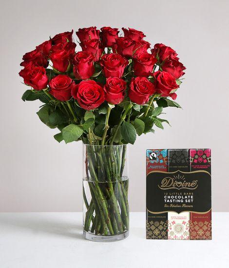 Two Dozen Burgundy Roses with FREE Chocolates