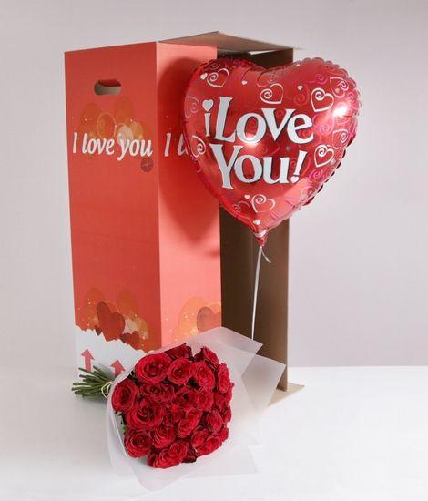 24 Burgundy Roses 'I Love You' Gift Set