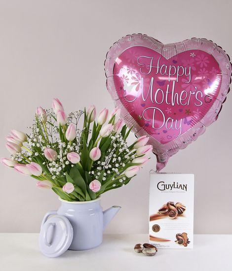 Lovely Tulip Coffeepot Giftset