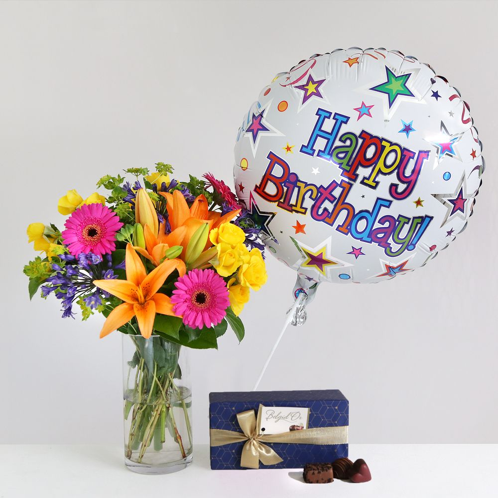 Happy birthday gift set flowers send flowers free delivery happy birthday gift set flowers izmirmasajfo
