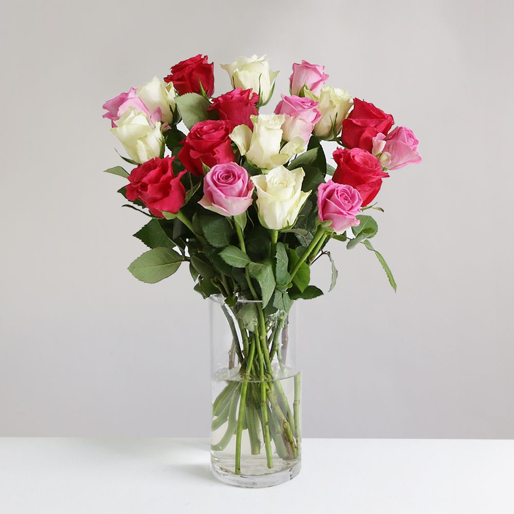 18 Mixed Roses - flowers