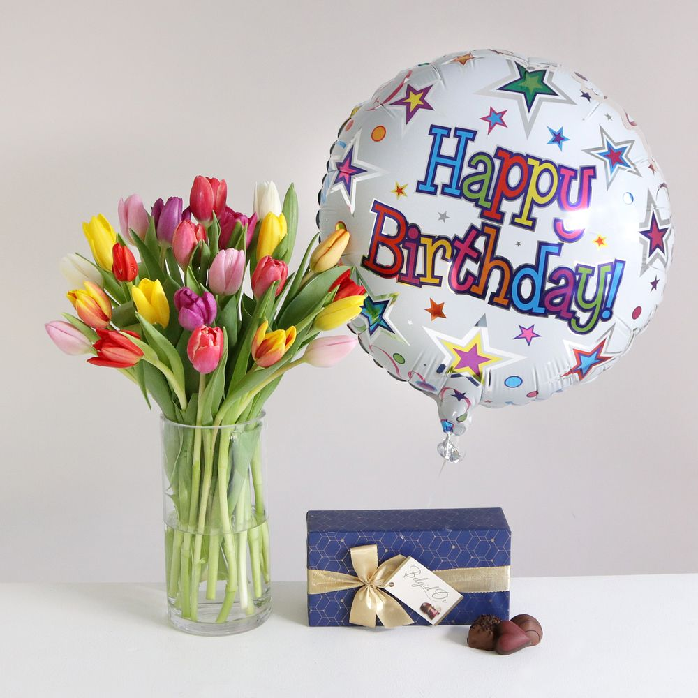 Spring happy birthday gift set flowers send flowers free delivery spring happy birthday gift set flowers izmirmasajfo