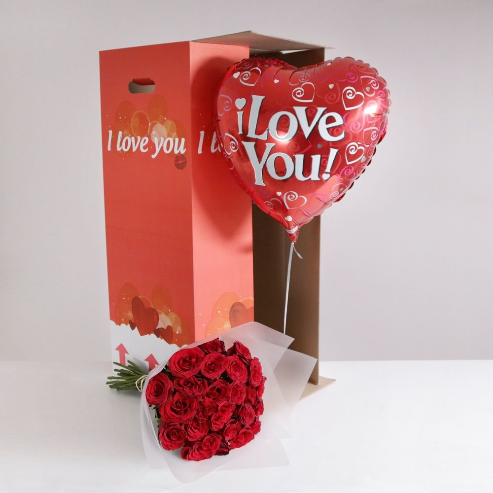 24 Burgundy Roses 'I Love You' Gift Set - flowers