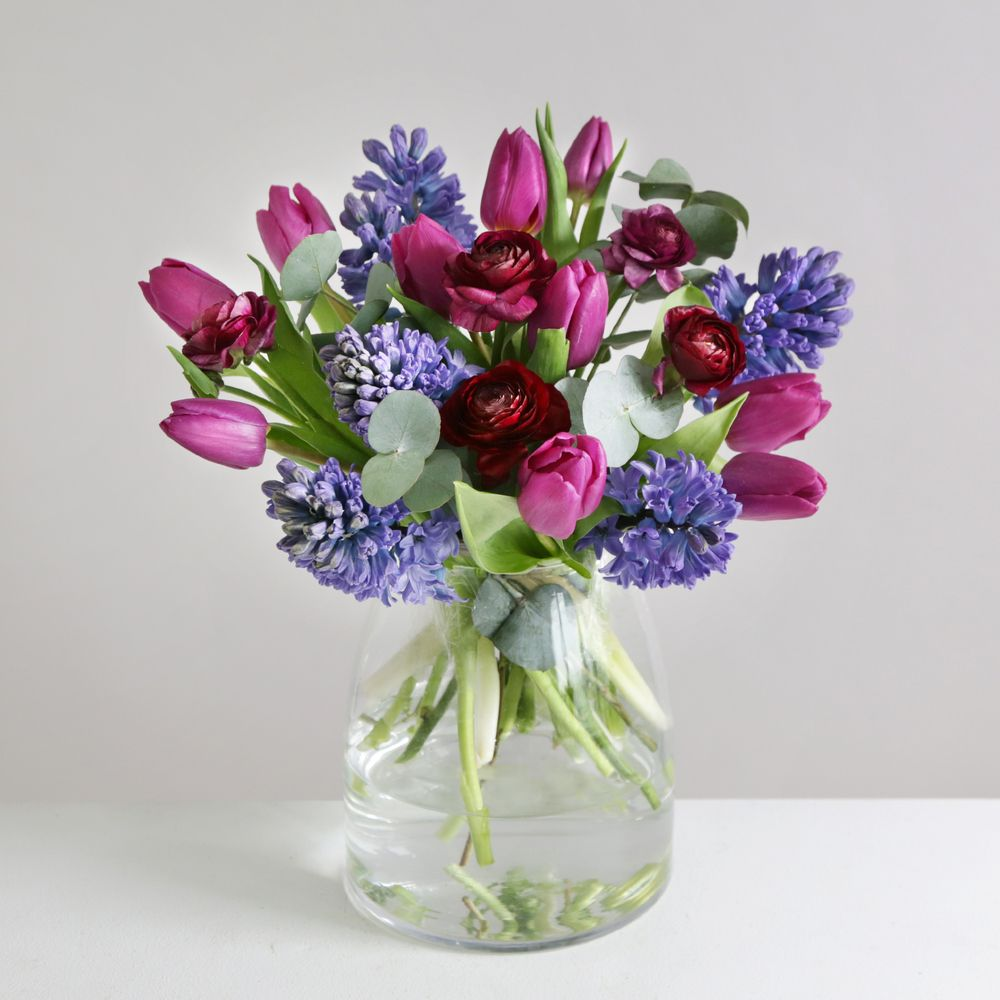 Indigo Tulips and Hyacinths - flowers