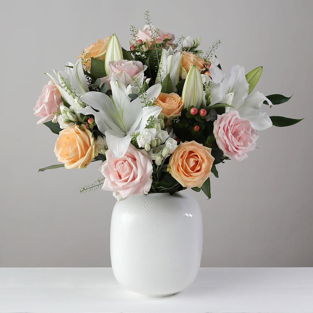 Flowers Peach White - flowers