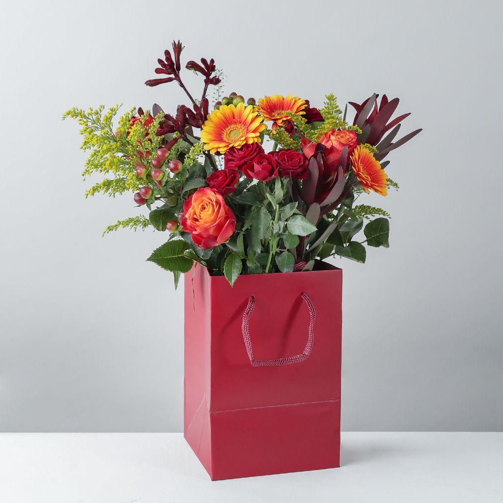 Autumn Gift Bag Arrangement - flowers
