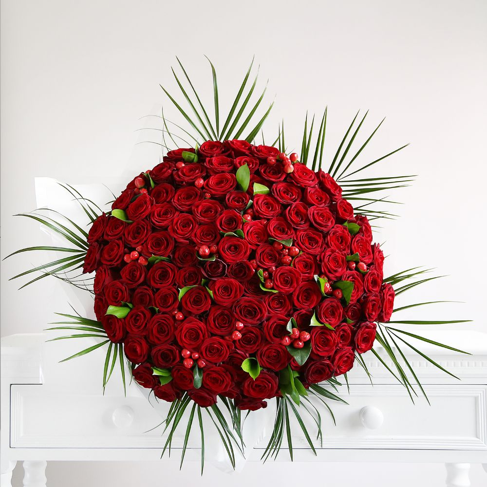 One Hundred Red Roses Bouquet - flowers