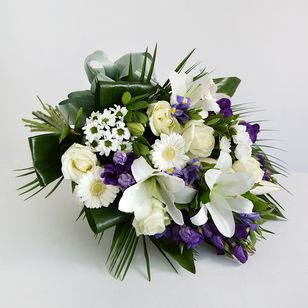 White Lily Blue Iris Funeral Sheaf