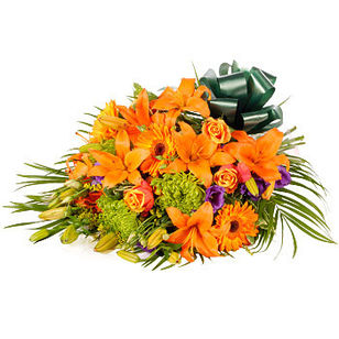Orange Lily Rose Funeral Sheaf