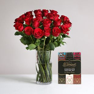 Two Dozen Burgundy Roses with FREE Chocolates