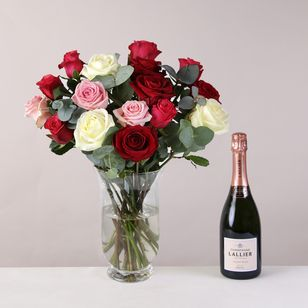 Luxury Mixed Roses & Champagne
