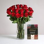 Two Dozen Burgundy Roses with FREE Chocolates - flowers