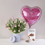 Lovely Tulip Coffeepot Giftset - flowers