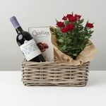 Red Wine and Rose Plant Hamper - flowers