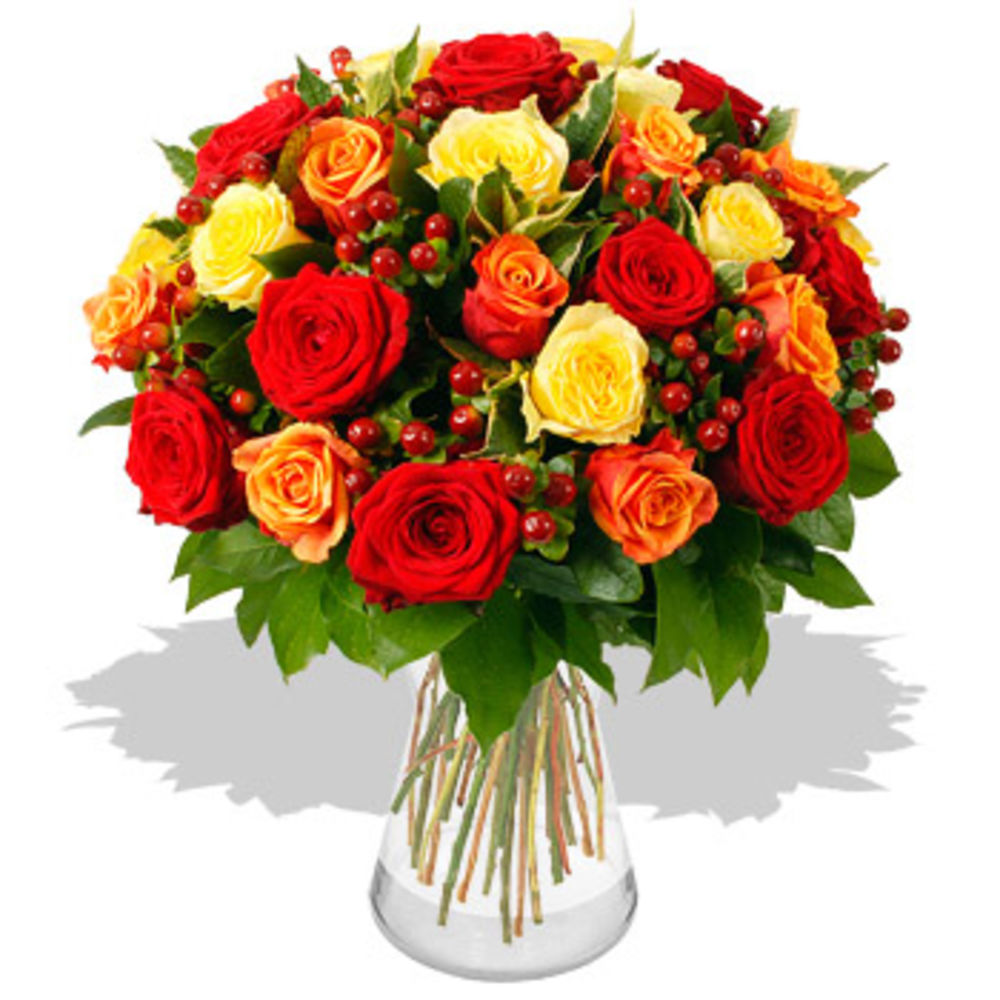 35 Magnificent Orange, Red & Yellow Roses - flowers