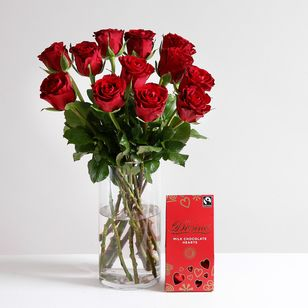 Fairtrade Red Roses and Chocolates